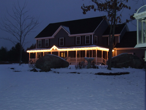 Christmas lights put up on gutters
